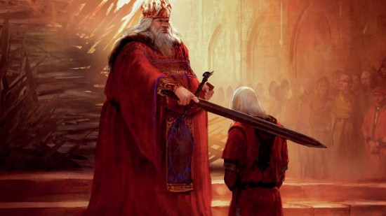 Aegon IV knighting Daemon Blackfyre. (Artist: Marc Simonetti)
